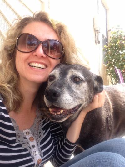 Dog Selfie Black Lab Gray Face