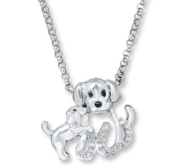 dog and pup necklace kay